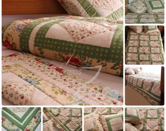 Single bed quilt + 2 pillow covers