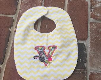 Handmade Baby Bib, Personalized Baby Bib, Chevron Baby Bib