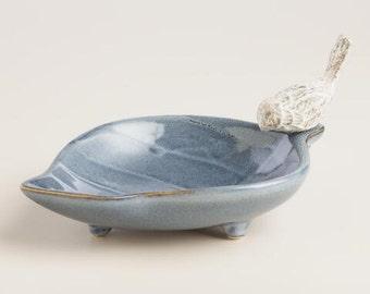 Blue Leaf Jewelry Holder with Bird