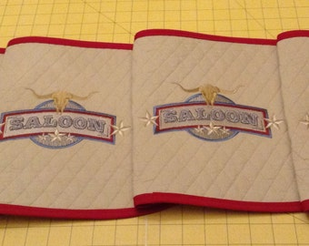 Handmade Quilted Placemats, Set of 4 Oval With Saloon Logo. Great for Man Cave, Rec Room, Bar, Kitchen.