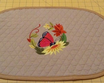 Handmade Double Diamond Quilted Placemats, Nice for Spring, Set of 4 Oval with a Butterfly and Flowers. Great for Kitchen, Breakfast Nook.
