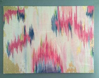 SOLD!! Original acrylic abstract painting with pinks, blues, a touch of green, and gold leafing