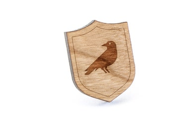 Blackbird Lapel Pin, Wooden Pin, Wooden Lapel, Gift For Him or Her, Wedding Gifts, Groomsman Gifts, and Personalized