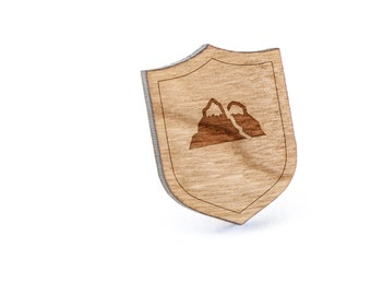 Mountain Lapel Pin, Wooden Pin, Wooden Lapel, Gift For Him or Her, Wedding Gifts, Groomsman Gifts, and Personalized