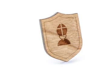 Pope Hat Lapel Pin, Wooden Pin, Wooden Lapel, Gift For Him or Her, Wedding Gifts, Groomsman Gifts, and Personalized