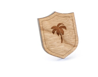 Palm Tree Lapel Pin, Wooden Pin, Wooden Lapel, Gift For Him or Her, Wedding Gifts, Groomsman Gifts, and Personalized