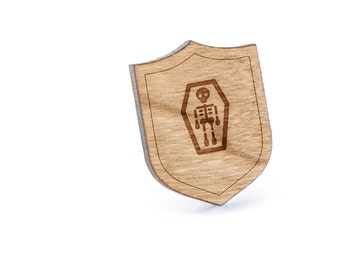 Skeleton Coffin Lapel Pin, Wooden Pin, Wooden Lapel, Gift For Him or Her, Wedding Gifts, Groomsman Gifts, and Personalized