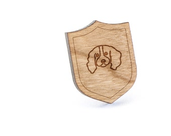 Clumber Spaniel Lapel Pin, Wooden Pin, Wooden Lapel, Gift For Him or Her, Wedding Gifts, Groomsman Gifts, and Personalized
