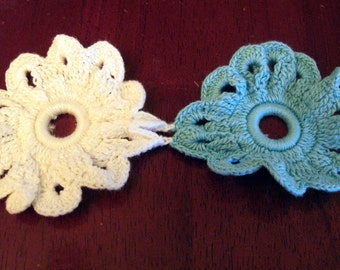 Vintage Pair of Crochet Joined Flowers White and Teal Blue Accent Embellishment Applique Accessory
