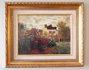Monet's Garden Painting Reprint in Beautiful Gold Frame