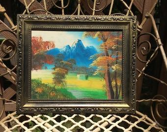 Vintage Framed Landscape Scene Painting ~  Original Art ~ Acrylic Painting
