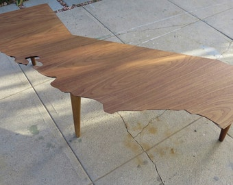 Mid Century Modern State Coffee Table (California) all 50 states available