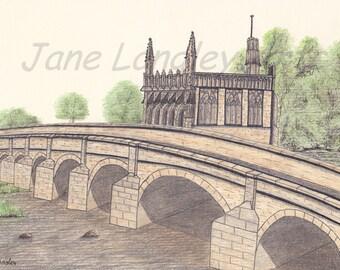 Chantry Bridge, Wakefield : Original artwork in pen and coloured pencil