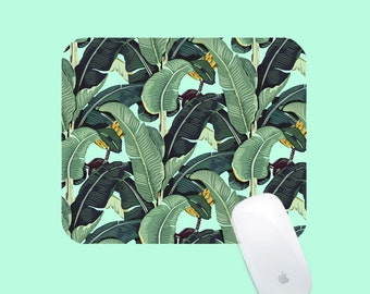 Banana leaf Mouse Pad - Banana Leaves mousepad - Tropical Mint Mouse Mat - Palm Leaves _ Beverly Hills Hotel Pattern