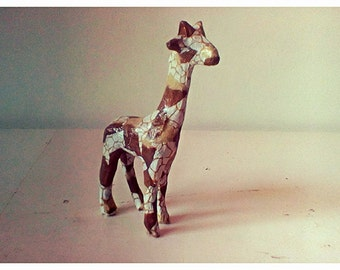 Small hand decorated decoupage giraffe