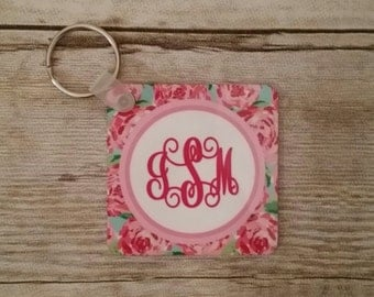 Lilly Pulitzer inspired key chain, Lilly Pulitzed inspired laggaue tag, Lilly Pulitzer inspired tag, personalized key chain, monogrammed