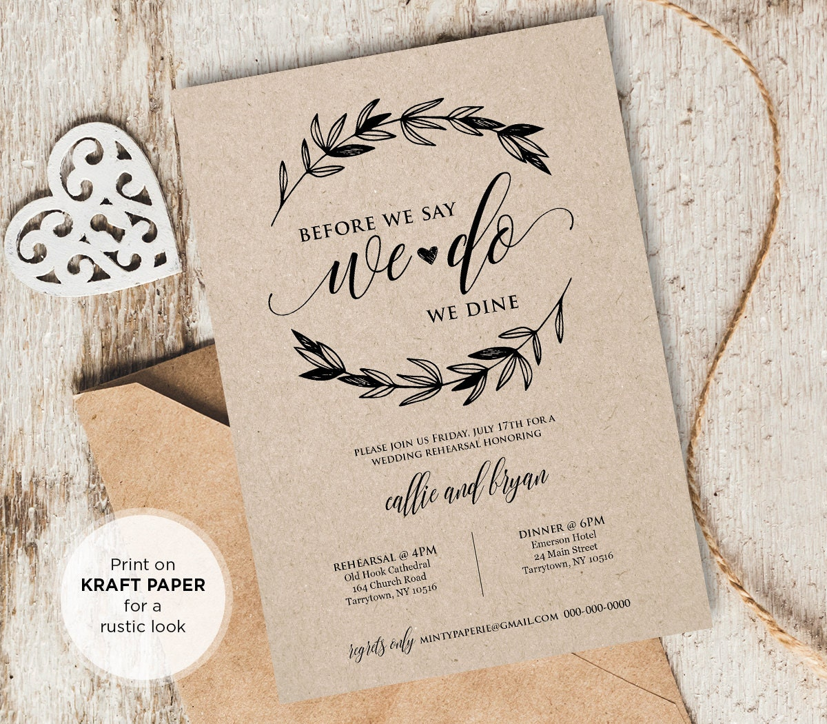 Wedding Rehearsal Invitations Templates: Rustic Wedding Rehearsal Invitation INSTANT DOWNLOAD