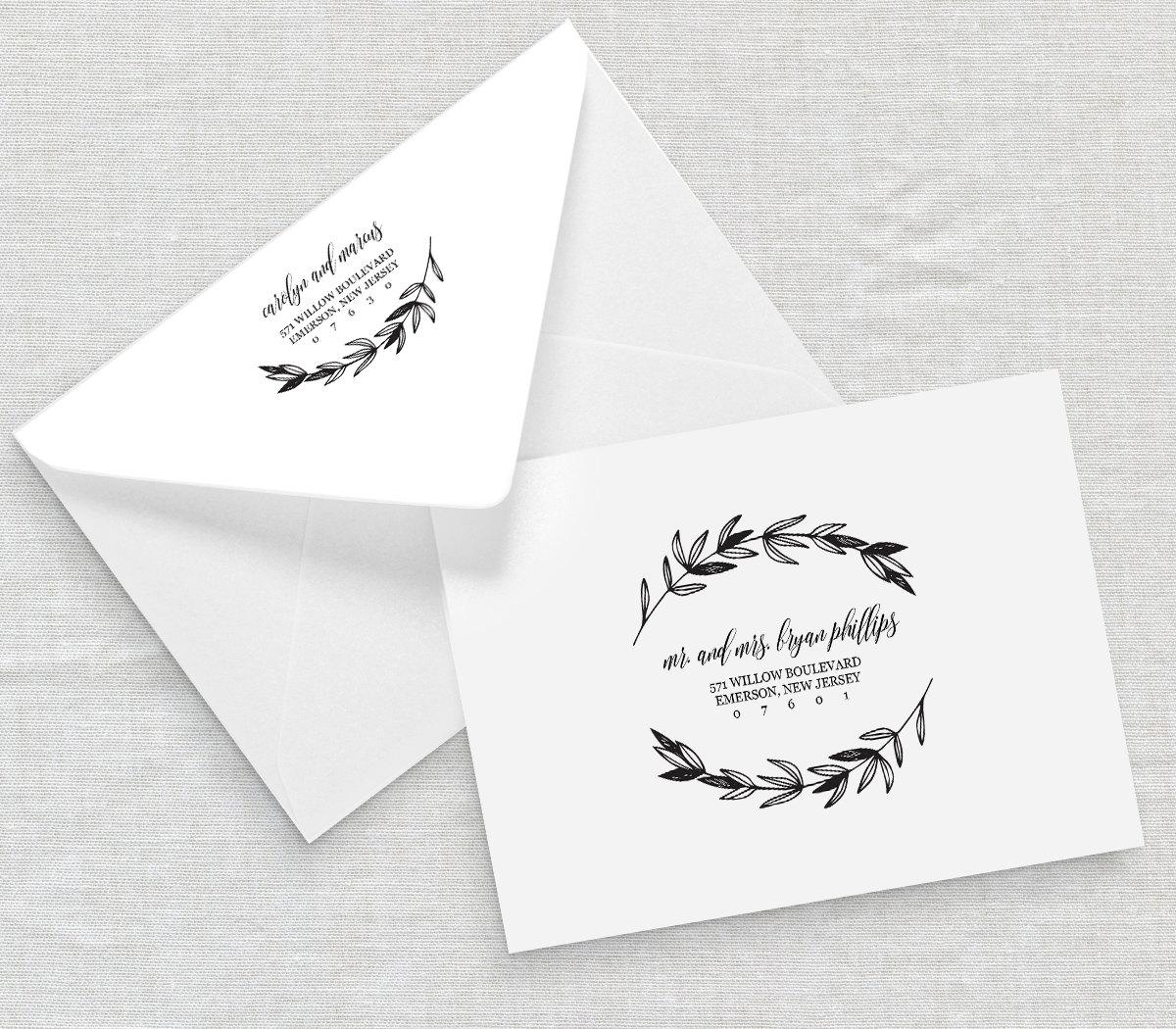 Rustic wedding calligraphy envelope addressing template