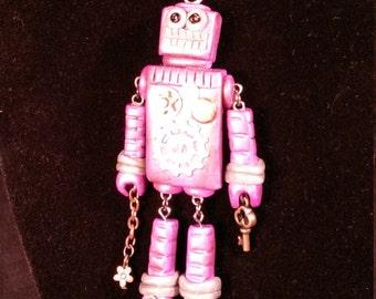 Steampunk Robot Necklace Pendant Bronze Purple Gold
