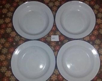 Set of Four Vintage German Enamelware Plates / Bowls Dinnerware Camping  Lot 2