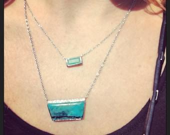 Gem Chrysocolla and Diamond Necklace