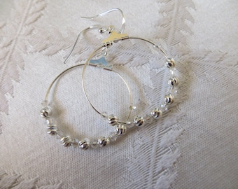 Silver and Crystal Beaded Hoops, SE-110