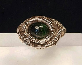 Tourmaline Gem Cabochon Ring