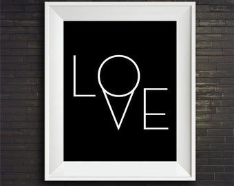 Love print, Scandinavian print, Affiche Scandinave, Black and White print, Love black and white