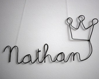 First name in wire with Crown of King/Queen