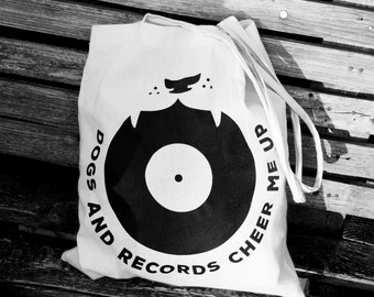 Dogs and records cheer me up - Canvas tote bag
