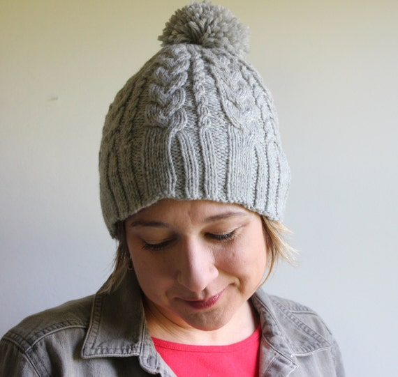 Pom Pom Beanie Knitting Pattern : Knitting Pattern for Womens Cable Knit Hat, Knitting Patterns, Womens Pom Pom...