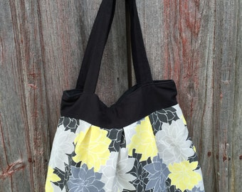 16 - Large Yellow, Gray & Black Floral Tote, Summer, Work, School, Diaper Bag, Beach