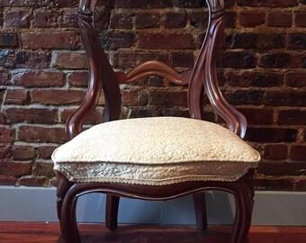 Victorian Balloon Back Walnut Chair