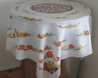 Vintage Tablecloth Linen With Flowers, Retro Linen Tablecloth Flower Print, Linen Square Tablecloth, Tablecloths, Linen Tablecloth Flowers