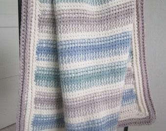 Tunisian Crochet - baby blanket - green / blue / white / light brown