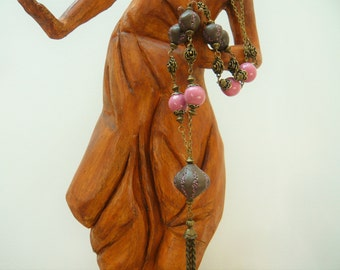 """Handmade necklace """"Pink"""" with ceramic beads"""