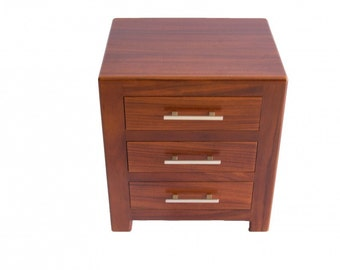 Dark brown modern solid wood New York nightstand with storage