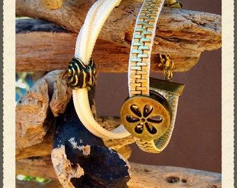 Double zipper flower bracelet