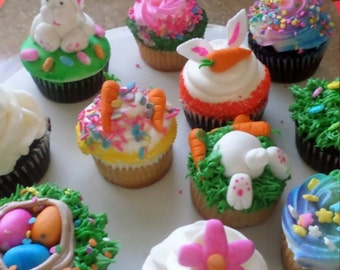 Easter Edible 12 Cupcake Toppers (read description to see whats included!!!
