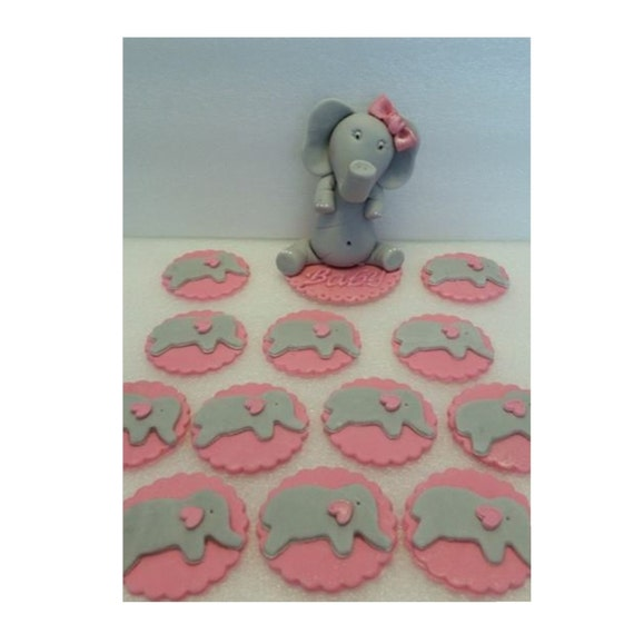 Edible Pink Elephant Cake Toppers With 12 cupcake Toppers
