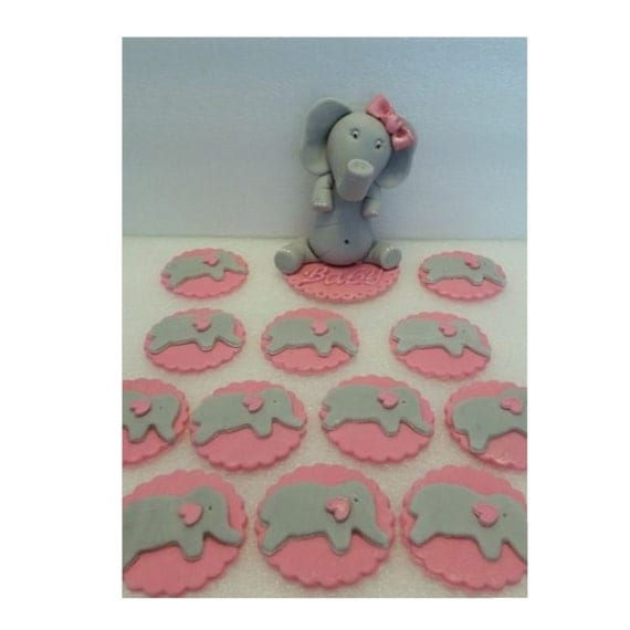 Edible Elephant Cake Decorations : Edible Pink Elephant Cake Toppers With 12 cupcake Toppers