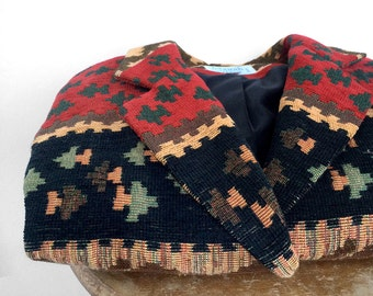 Vintage 1990's, Made in Canada, Earthy, Wilderness, Woven, Tapestry, Crop, Lightweight, Fall, Jacket, Blazer