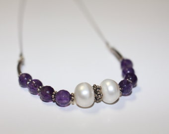 Amethyst Fresh Water Pearls- Sterling Silver Necklace