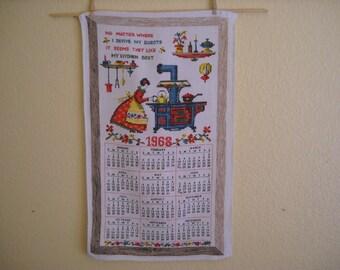 Kitschy 1968 Calendar Towel