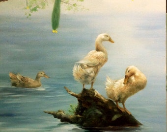Original cute oil painting on canvas:ducks