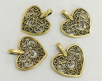 30pcs dark gold color heart shaped beautiful charms for bracelet h0239