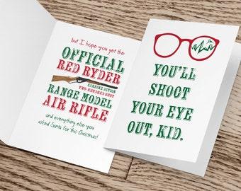 "A Christmas Story, You'll Shoot Your Eye Out, Printable Greeting Card, 5x7"", funny Christmas Card, Funny Card, Printable Christmas Card"