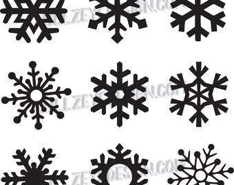 9 unique Snowflakes, svg cut file, Snowfake cut file, Cricut, Silhouette, Christmas Svg files, Winter svg Snow flakes, Commercial License