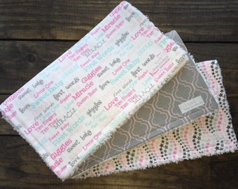 Baby girl burp cloths | Pink and gray burp cloths | Baby shower | Shower gift | Set of 3
