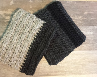 Ready-to-Ship! Warm, cozy and hand crochet two toned neck warmers.